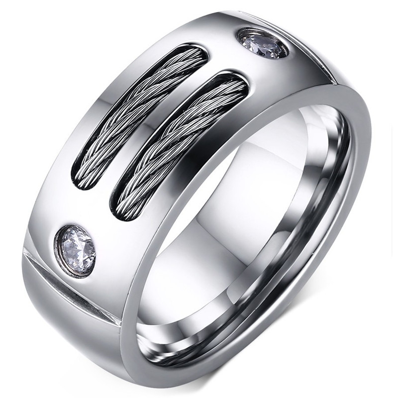 Bague Alliance Large Bijou Homme Cable Faux Diamant Acier Inoxydable Strass  Poli - vue V1 8f98edb0c92