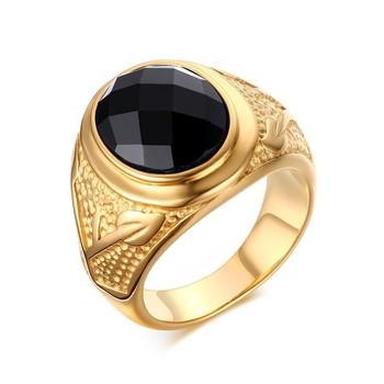 660939ed7a3b38 vendu par BOBIJOO Jewelry · Chevalière Bague Mixte Agate Noire Facettes Doré  à l Or Fin Décor Branche Acacia