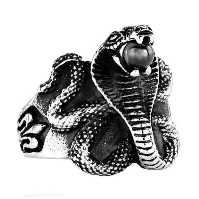 a4874f887a4 Chevalière Bague Serpent Cobra Pierre Orbe Noire Fleur de Lys Acier Inox  316L - vue V1