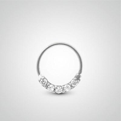 haut fonctionnaire gamme complète d'articles dernières tendances de 2019 Piercing tragus anneau à écarter en or blanc et zircons