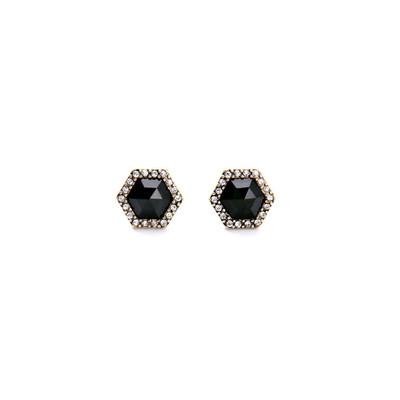 8e60e56a3a902 Boucles d oreilles style vintage de forme héxagonale et de couleur noire ...