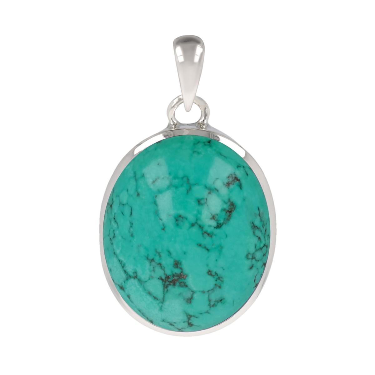 Idée cadeau original femme-Pierres fines naturelles-Pendentif-Pierre de  Turquoise-Argent 892cd5b9517a