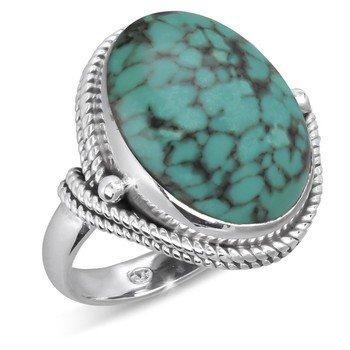 ef4febb08e7 Bague pierre de Turquoise sertie d une collerette d argent massif