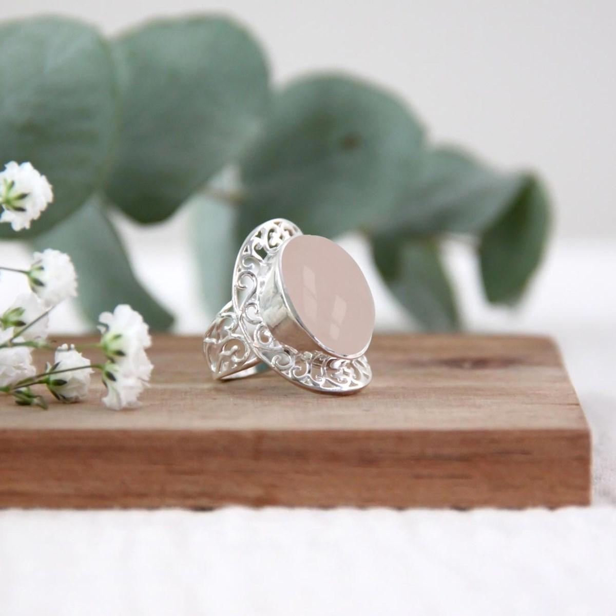 49# Bague artisanale en argent sterling 925 avec quartz rose naturel