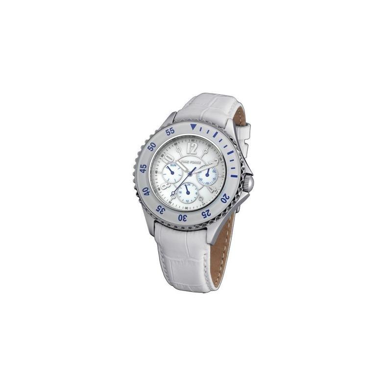 économies fantastiques style moderne magasin britannique Montre Femme Time Force Cuir Blanc