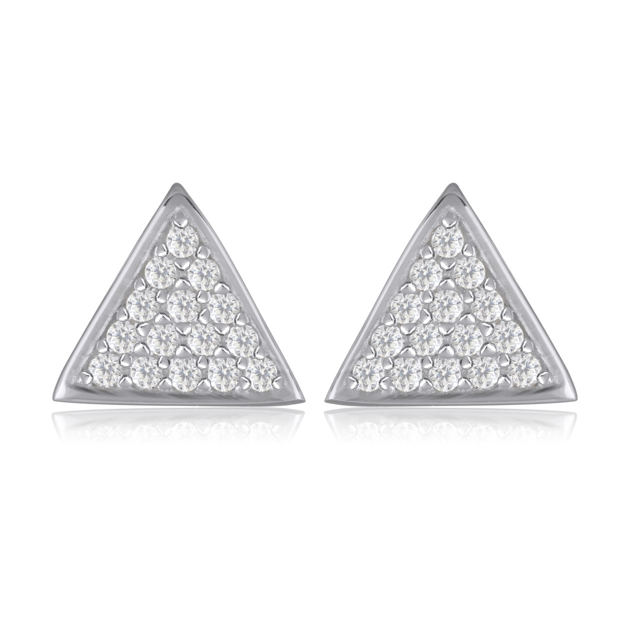 dernière vente à bas prix moins cher Boucles d'oreille triangle argent rhodié avec cubic zirconia