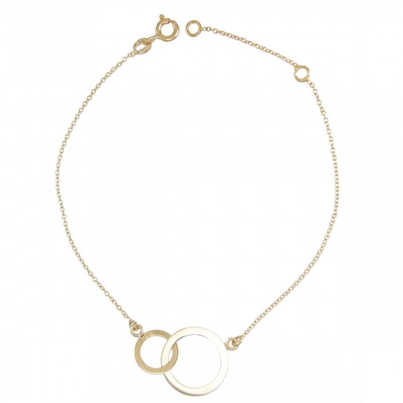 bracelet femme or jaune deux anneaux enlac s femme. Black Bedroom Furniture Sets. Home Design Ideas
