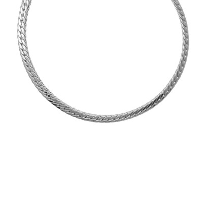 collier argent maille plate femme