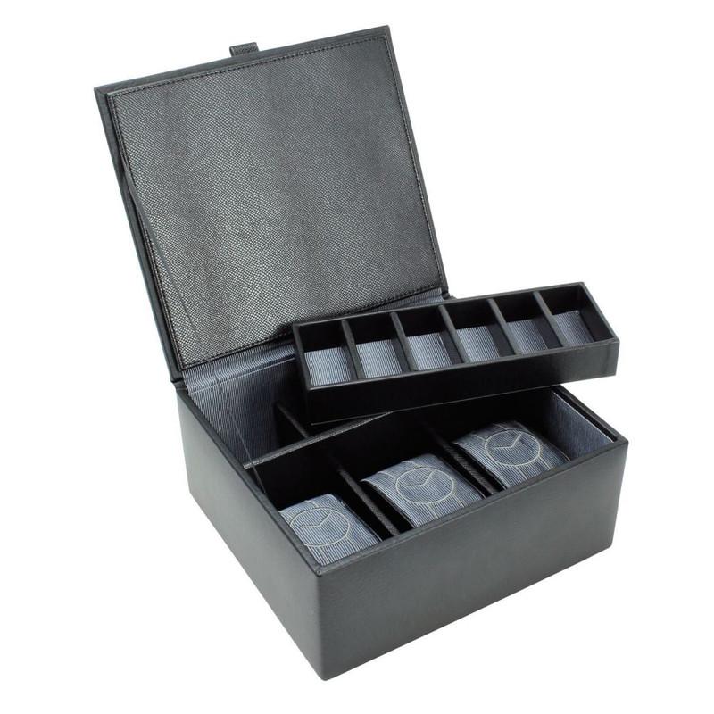 style le plus récent beauté collection entière Boite cuir noir Dulwich, 3 montres 6 boutons de manchette