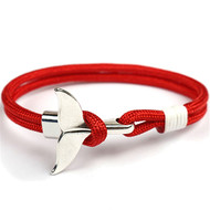 Bracelet nautique rouge, queue de baleine