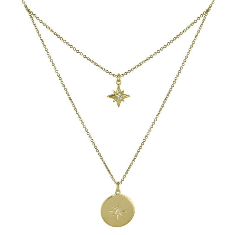 perle pour Femme Collier double chaîne en cuir Or Strass pendentif clé