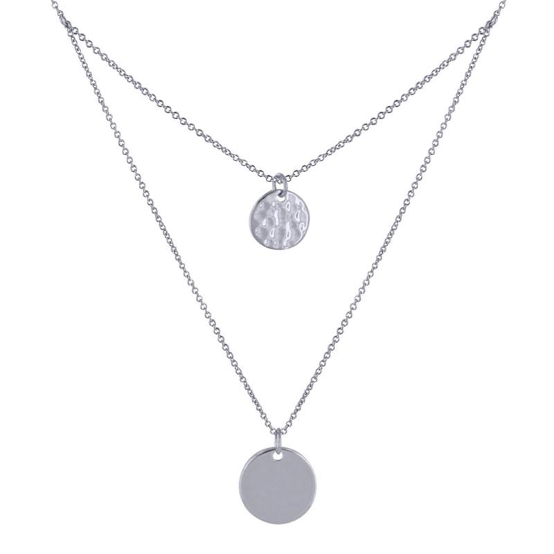 forme élégante différents types de vente chaude Collier Double Chaine Argent Rhodié Médailles Rondes Lisses et Martelées