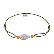 BRACELET PERLE DE CULTURE ET JADES ORANGE