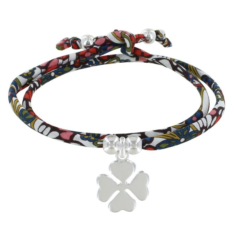 nouveau produit 8b832 15cdc Bracelet Double Tour Lien Liberty Papillon et Trèfle Argent - Classics -  Rouge