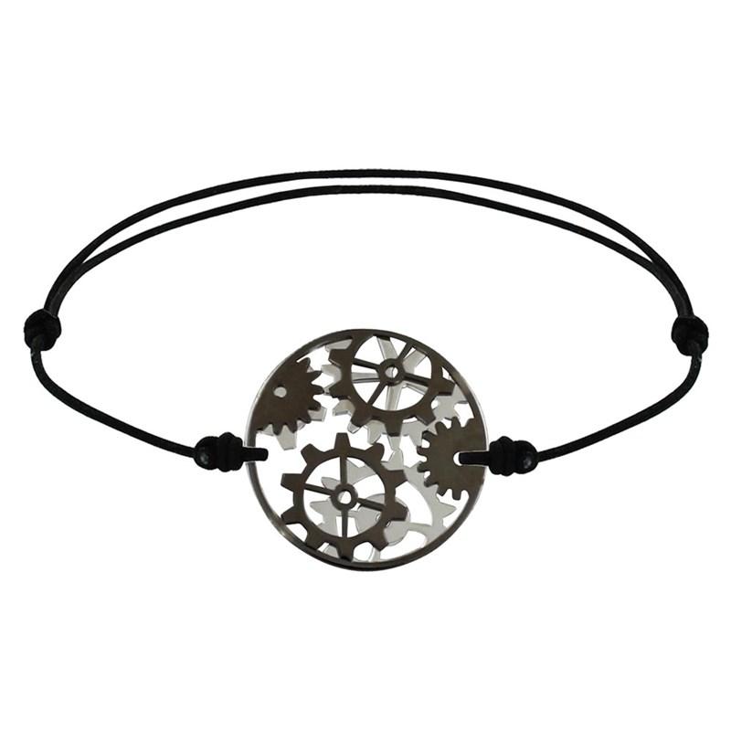 Lien Bracelet Noir Réversible Argent Et Médaille Rouages Ruthénium Homme qALc5RSj34