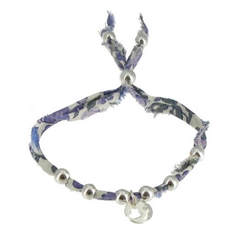 nouveau produit db6f5 9746c Bracelet Liberty Perles et Médaille Coeur en Argent - Classics - Violet