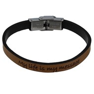 Bracelet Enfant Cuir Marron Clair 'My Life is my Message'