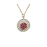 Collier Or Jaune - Diamants 0 -07 carats et Rubis 0 -14 carats Bouclier