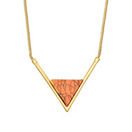 Collier Torrente en laiton doré à l'or fin Triangle Rouge Feu