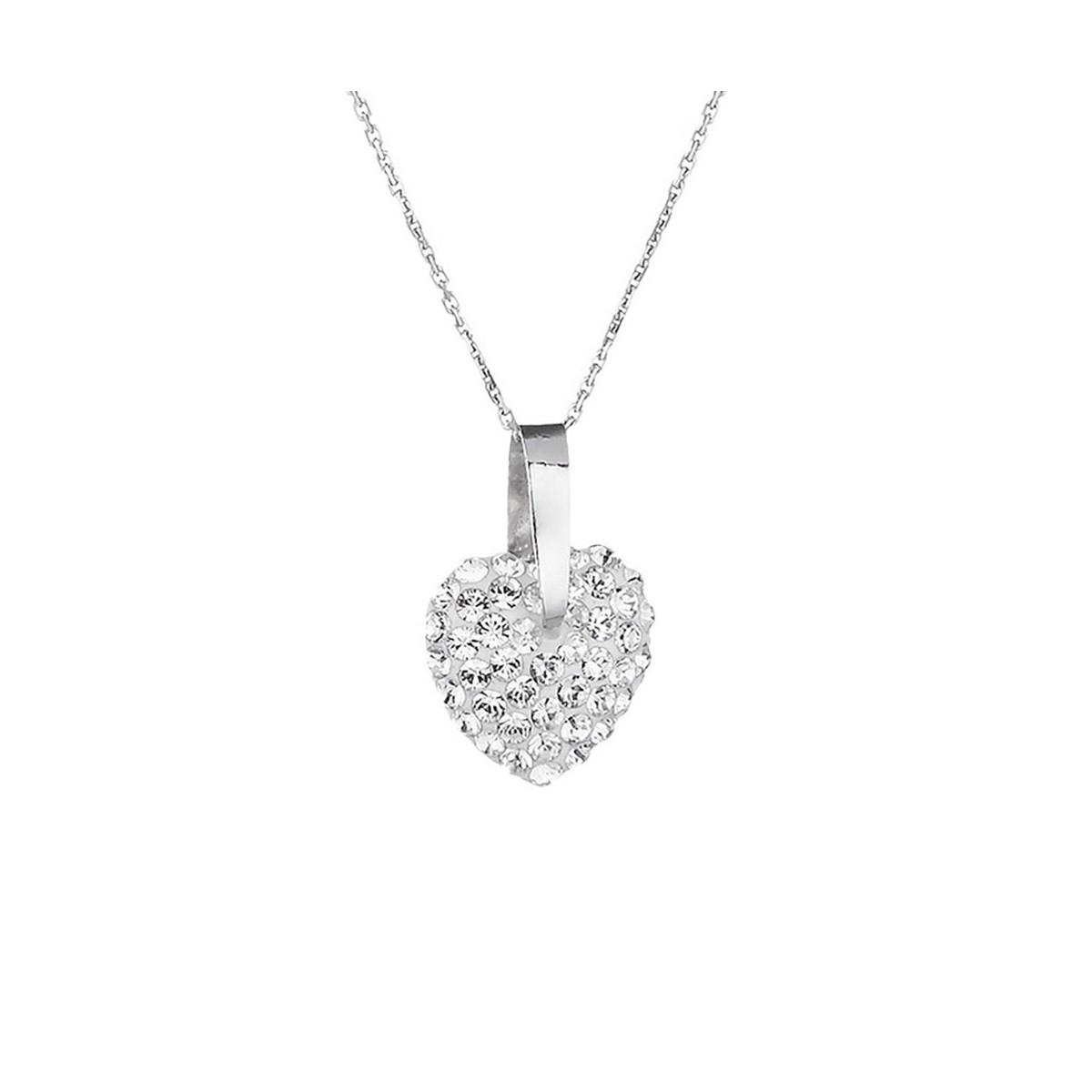 eeb4babf880fc Pendentif Argent orné de cristaux Blanc Amour - Femme - Collier | MATY