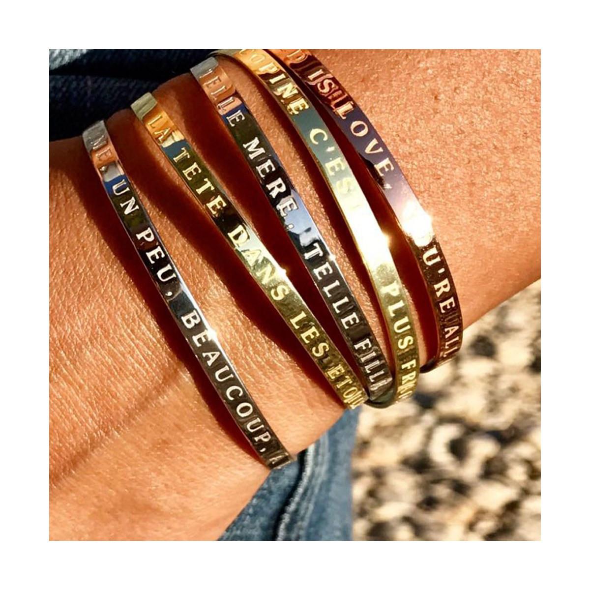 expédition de baisse achat le plus récent nouvelles promotions Bracelet Jonc à message laiton doré MAMAN D'EXCEPTION