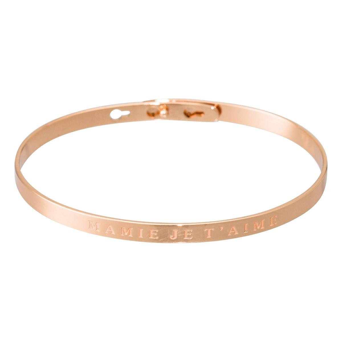 acheter populaire 99d11 d4f86 Bracelet Jonc à message laiton rosé MAMIE JE T'AIME