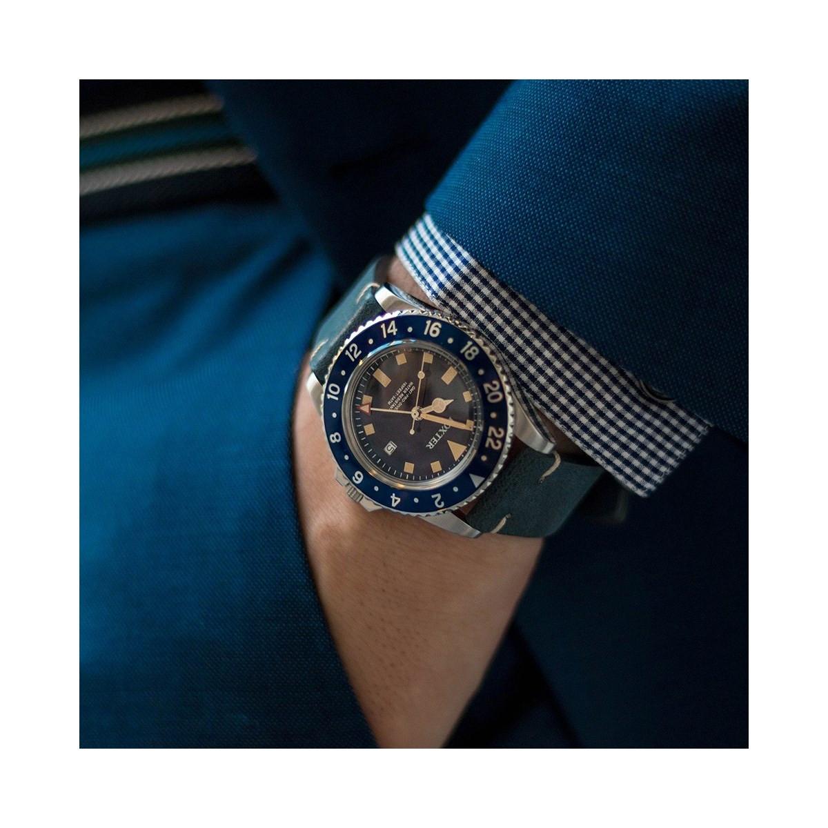 Foxter Cuir Homme Bracelet Bleu Montre Acier Boitier Fond Sixties fbg6y7