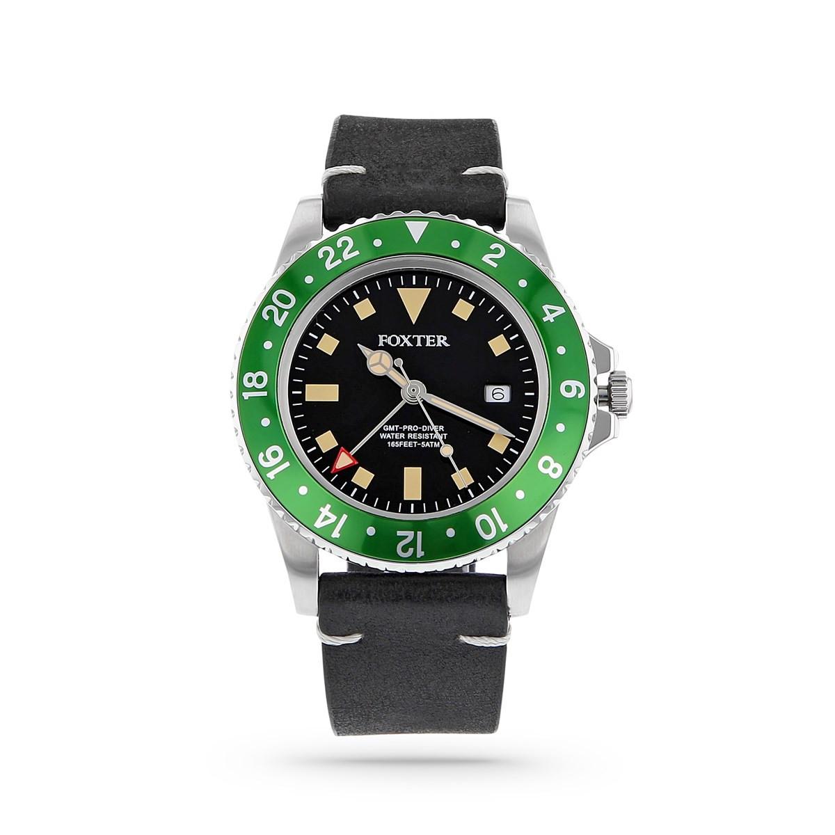 montre acier fond noir bracelet cuir