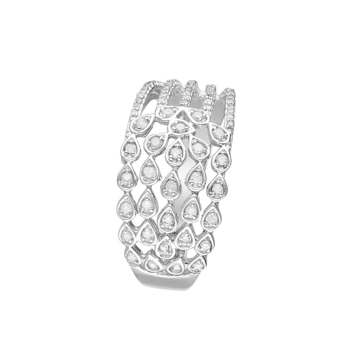 Bague Or Blanc et Diamants 0 -25 carats Babylone - vue V1