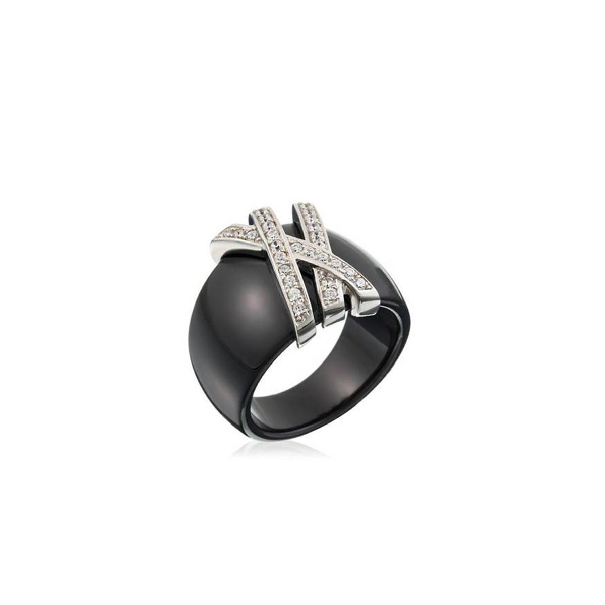 Qualité supérieure 5da26 5bf2a Bague céramique noire - argent et oxydes de zirconium Méandre