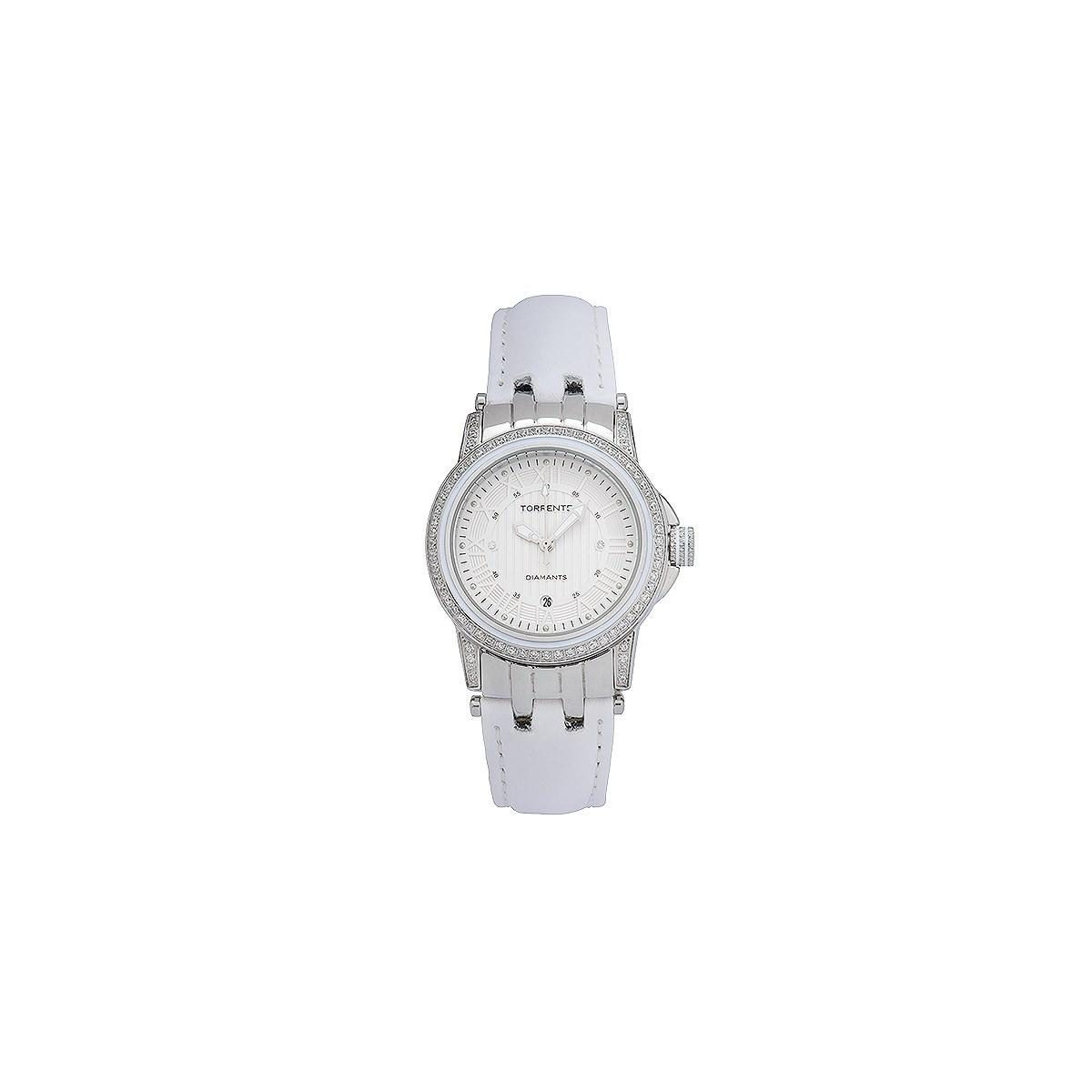 Carats Torrente Acier Magnetic 0 Cadran Montre Diamants Boîtier Blanc Cuir 01 Bracelet N0ymnOvP8w