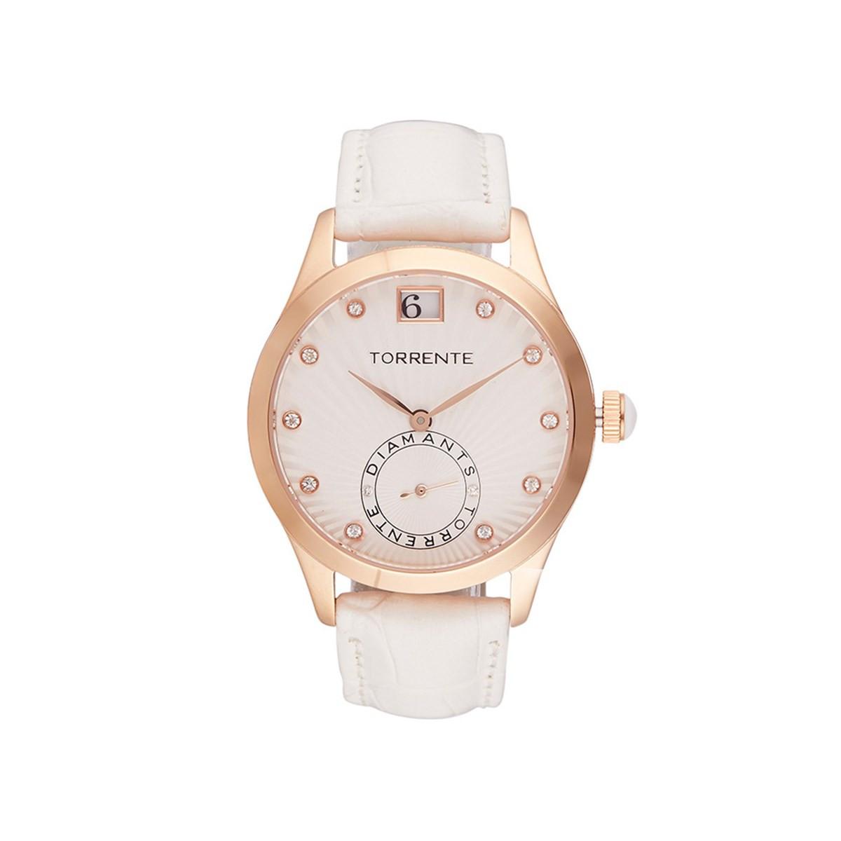 Diamant Rose Montre Cadran Acier Cuir Sigma Bracelet Torrente Plaqué Blanc Boîtier Or c5A4L3Rjq