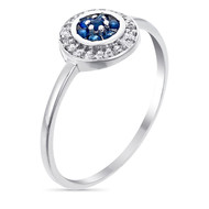 Bague Or Blanc - Diamants 0 -07 carats et Saphir 0 -18 carats Bouclier
