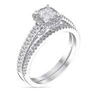 Solitaire Alliance Or Blanc et Diamants 0 -52 carats Brillant Duo