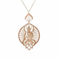 Collier argent motif shiva scintillant or rose