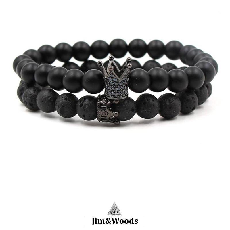 super populaire prix de liquidation la réputation d'abord Bracelet Distance Perle Duo Royal Noir Howlite et Onyx noir