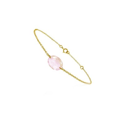 0fe011b83d Bracelet chaine or jaune et quartz rose - BeJewels - Femme ...