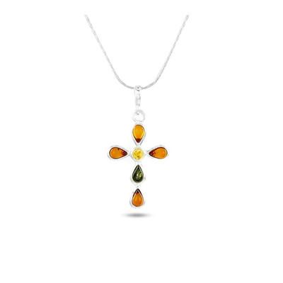 achats braderie recherche d'authentique Collier croix Argent 925/00 et ambre véritable