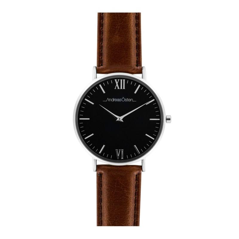 remise spéciale achat le plus récent images détaillées Montre homme Andreas Osten cadran 40 mm en acier noir et bracelet marron en  cuir