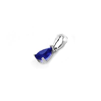 3.05 CT poire saphir bleu 2 Pierre Pendentif /& Collier 14K or Blanc