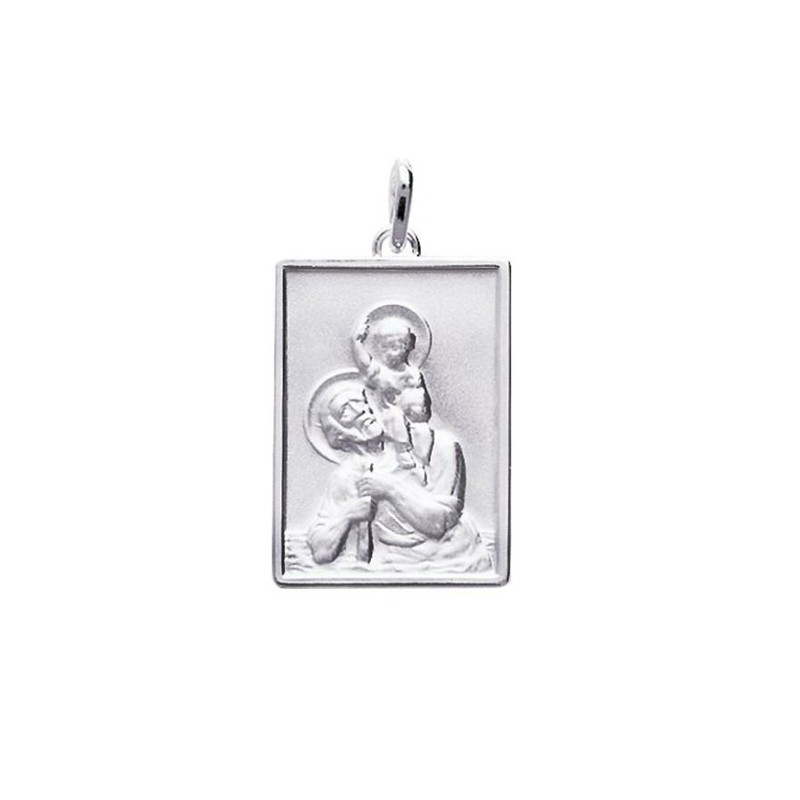 Pendentif de protection Saint Christophe en argent sterling 925 massif oxyd/é uniquement
