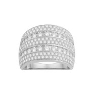 Bague diamants type jonc plat large Or blanc 375/00