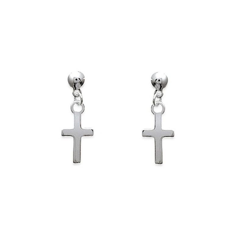 brillance des couleurs gamme complète d'articles bonne texture Boucles d'oreilles pendantes croix Argent 925/00