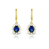 Boucles d'oreilles en Or jaune 375/00, diamants et saphirs