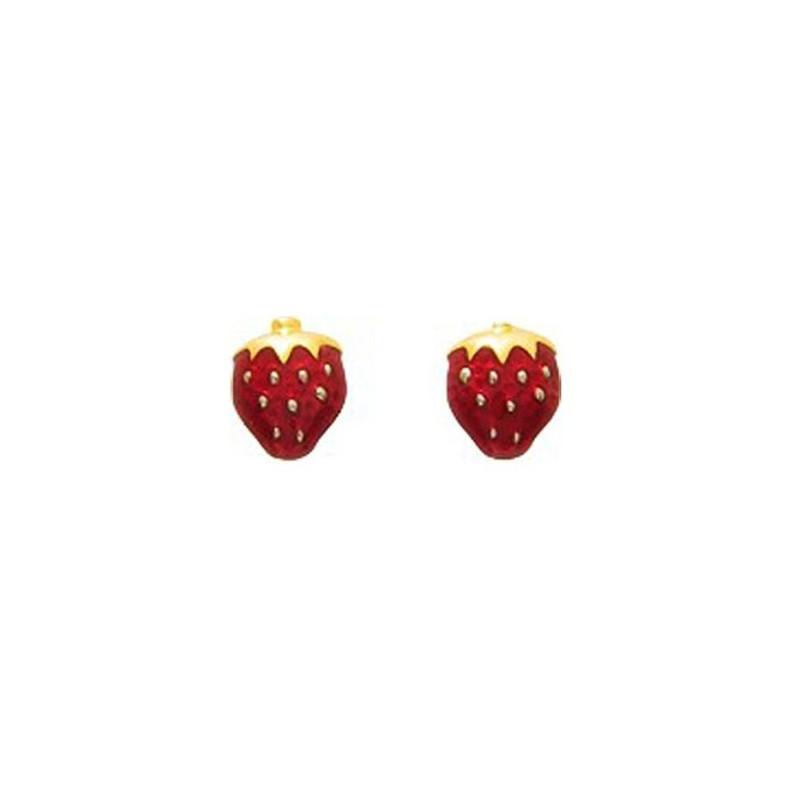 Boucles dOreilles Enfant fraises /émail Or Jaune 9 Carats