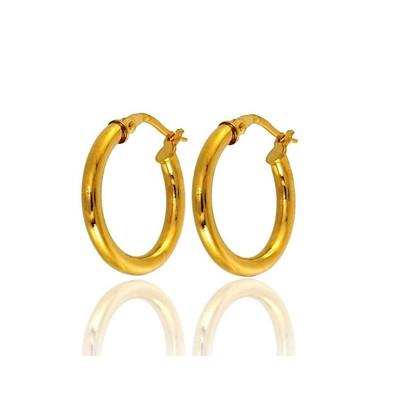 14K Or Jaune Rond Diamant Boucles d/'oreilles Créoles