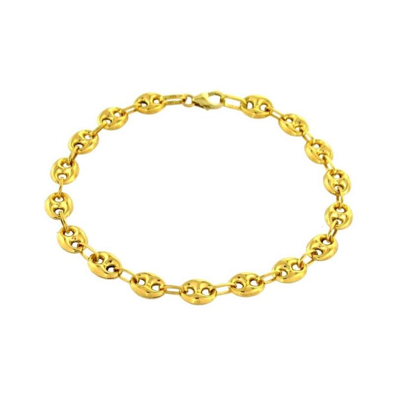 grossiste 89c38 e88fc Bracelet maille grain de café 21 cm Or jaune 375/00