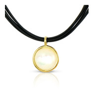 Collier Or jaune 750/00 et nacre cordon noir