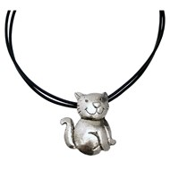 Collier cuir pendentif chat collection CAT'S DEUS