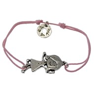 Bracelet cordon rose et métal argenté motif Fille collection ZAZOU'S
